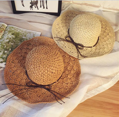 Awning folding UV cut Spring Summer Straw Hat Straw Hat Hat Ladies UV Protection Beach Hat Sea Travel Fashion