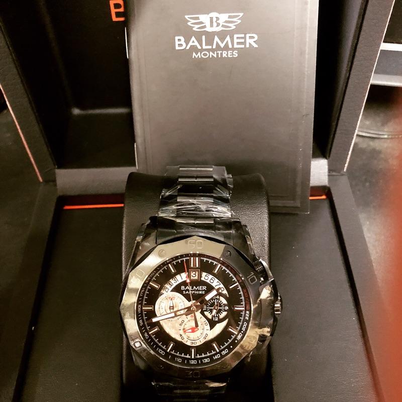 賓馬馬皇多功能三眼鋼帶錶