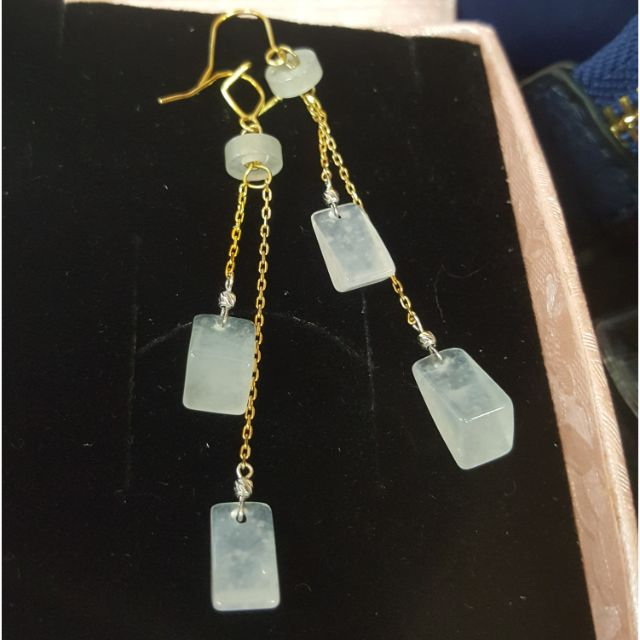 天然緬甸玉a貨玻璃木拿種小隋型鑲嵌14k真金秀氣耳環