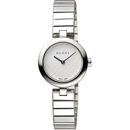 GUCCI 古馳 Diamantissima 古馳菱格紋腕錶-白x銀/28mm YA141502
