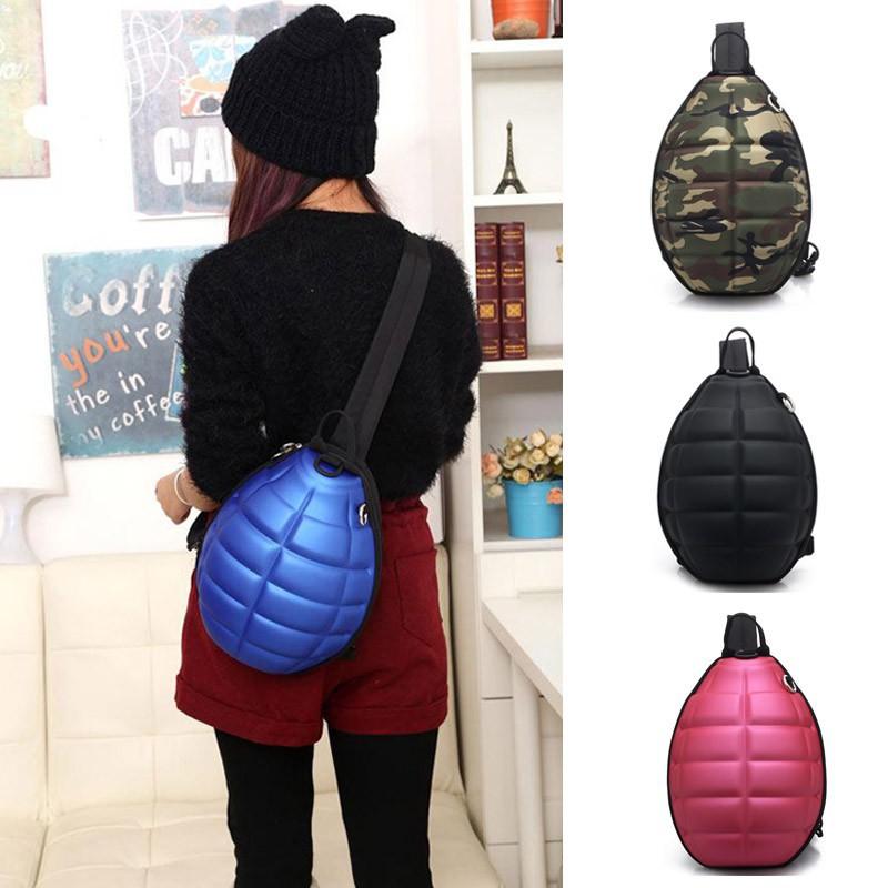 ❤KUN家❤單肩背包創意手雷單背包手榴彈書包炸彈龜殼包男女通用胸包
