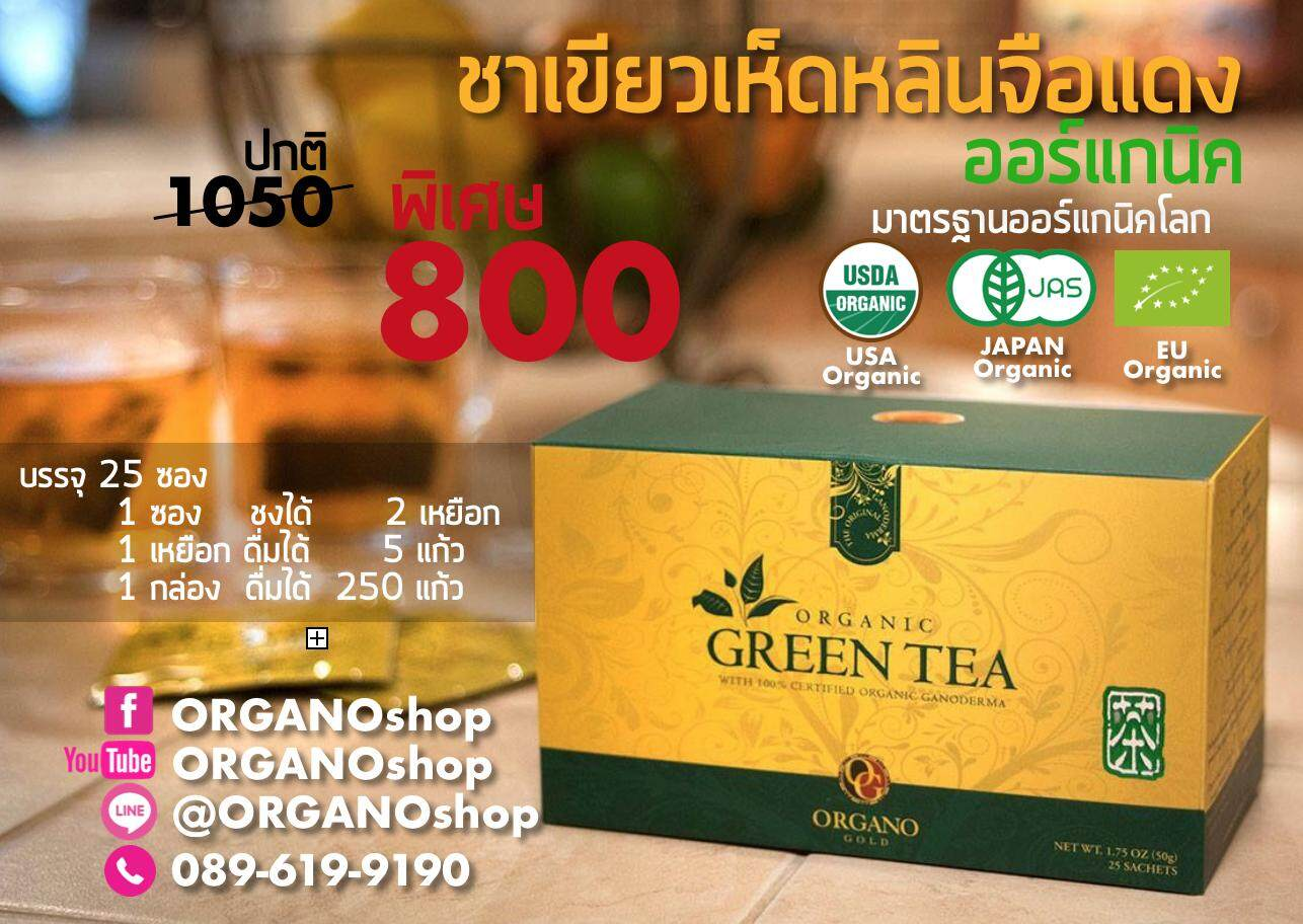 ชาเขียวออร์แกนิค ผสมเห็ดหลินจือแดงออร์แกนิค ออร์กาโน่โกลด์ Organo Gold 100% Certified Organic Green Tea with Ganoderma Lucidum