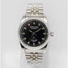 America Eagle นาฬิกาข้อมือบุรุษหน้าปัดสีดำ สายสแตนเลสสีเงิน