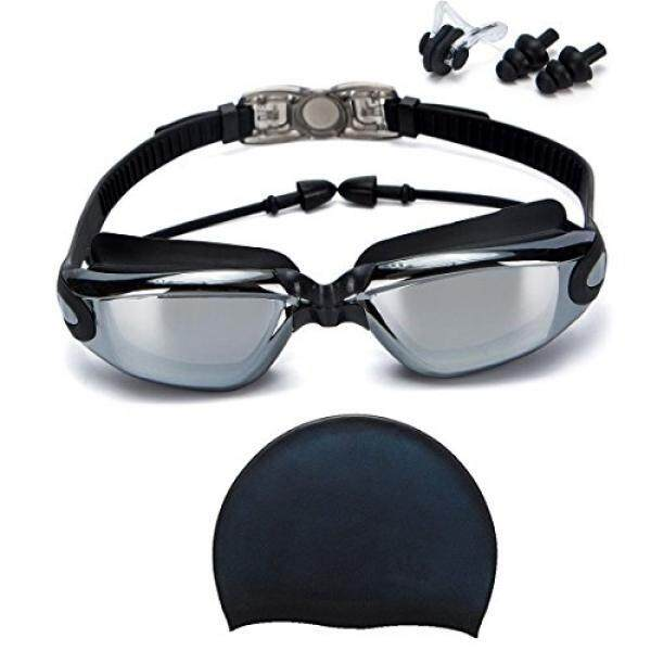 Swim Goggles + Swim Cap, Swimming Goggles No Leaking Anti Fog UV Protection Triathlon Swim Goggles with Free Protection Case + N