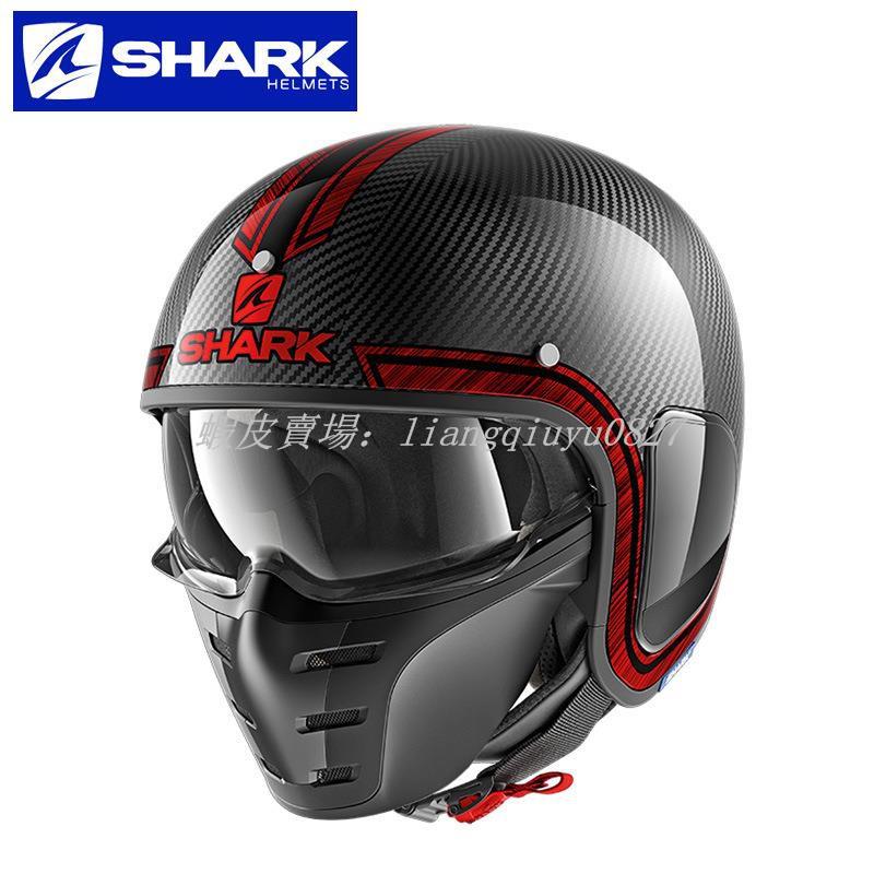 【正品銷售】現貨促銷法國SHARK鯊魚碳纖維摩托車頭盔復古半盔太子幽靈男女組合安全帽