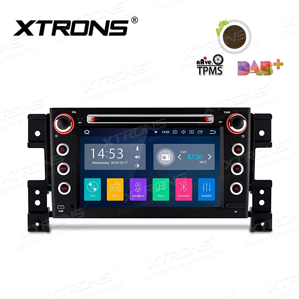 XTRONS 10.1 inch Android 8.1 Touch Display Car Stereo Radio DVD Player GPS Navigator with USB SD Port Bluetooth 5.0 Supports OBD 1080P DVR 4G 3G for Suzuki Grand Vitara