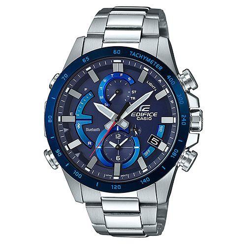 【CASIO】EDIFICE 夜行騎士計速藍牙太陽能不鏽鋼錶-藍(EQB-900DB-2A)