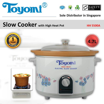 TOYOMI Slow Cooker High Heat 4.7L [Model: HH 5500A] - Official TOYOMI Warranty Set.