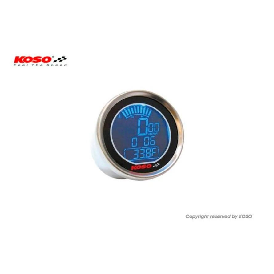 【公道的店】KOSO 轉速表 溫度計 LCD碼表 電子式 D55 DL-01R 55mm 轉速達18000 RPM 藍色