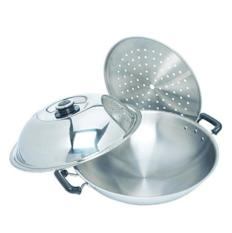 Zebra Chinese Wok with Lid & Steamer (5 ply)