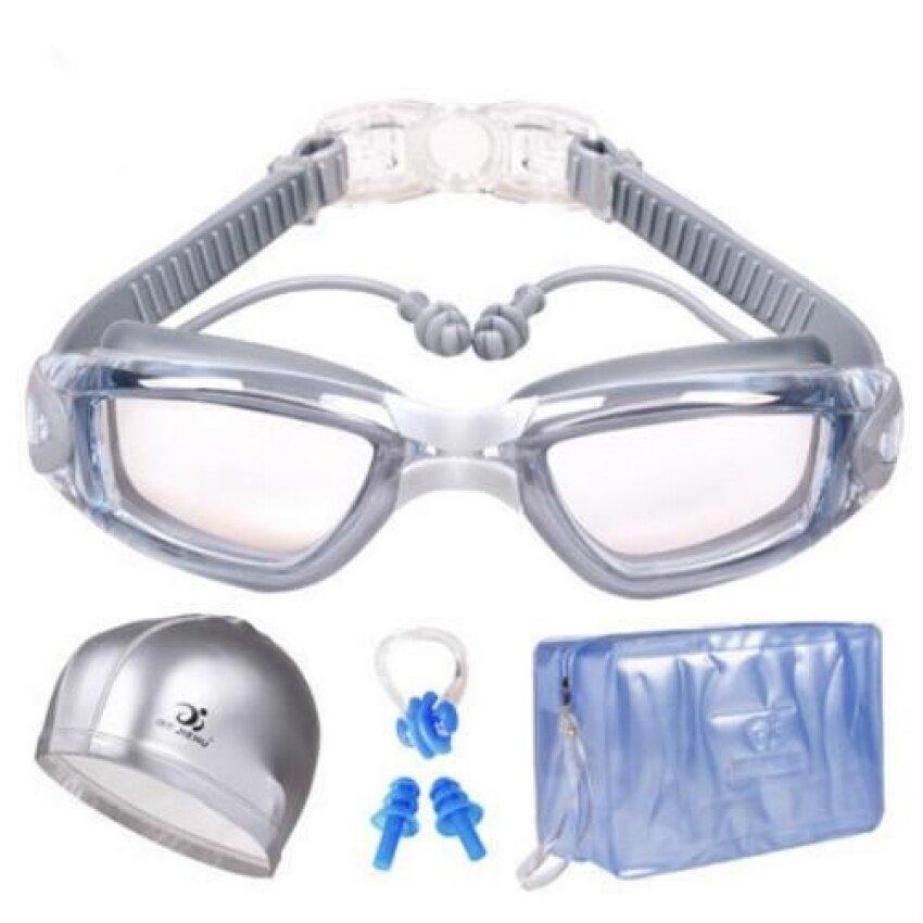 Swim Goggles.Swimming Goggles Anti Fog No Leaking UV Protectionwith PU Swim Cap.Earplugs.Nose Clips and Case