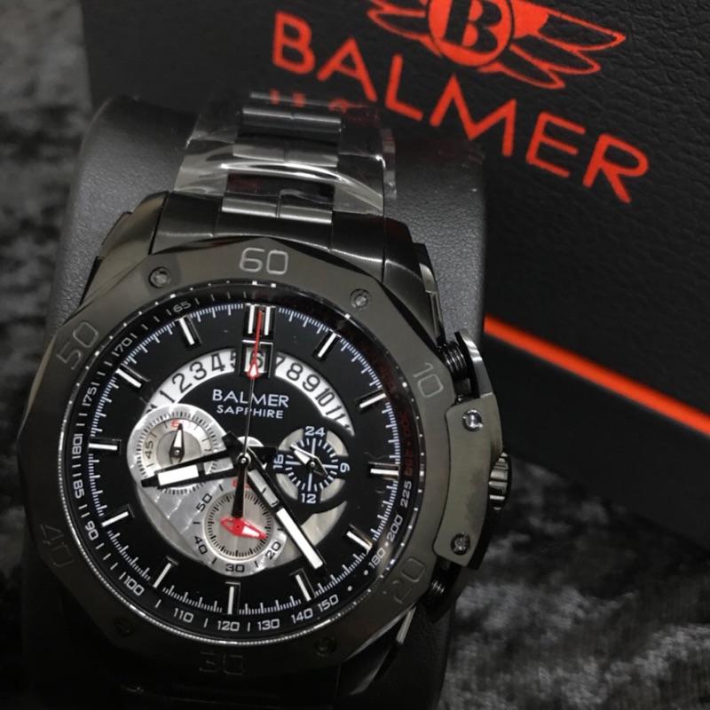 賓馬 BALMER  2018馬皇登基 三眼計時錶 鋼錶帶 7993 馬皇 馬王