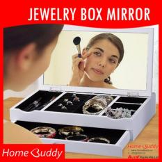 Jewellery Box with Mirror: White/ ★ Stocks SG ★ jewellery organizer/ makeup mirror _ HomeBuddy
