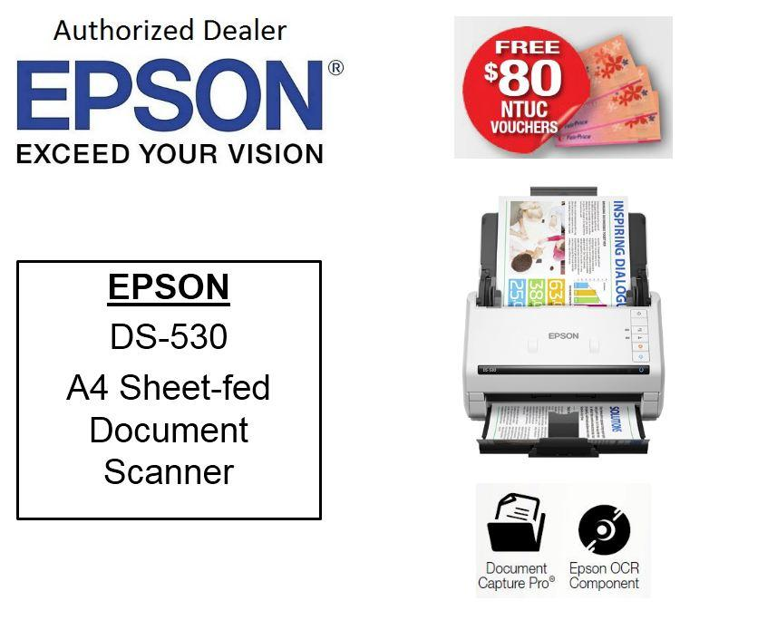 Epson WorkForce DS-530 A4 Sheetfeed Document Scanner ** Free $80 NTUC Vouchers **  DS530 DS-530 DS 530