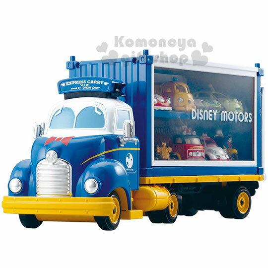 〔小禮堂〕迪士尼 唐老鴨 TOMICA小汽車收納車展示櫃《藍白.貨櫃車》公仔.玩具.模型