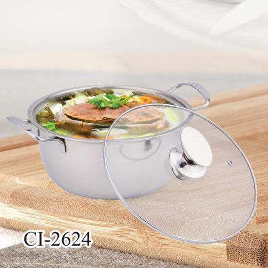 【鵝頭牌】316不鏽鋼26cm福氣料理湯鍋 CI-2624 附玻璃蓋~火鍋/湯鍋