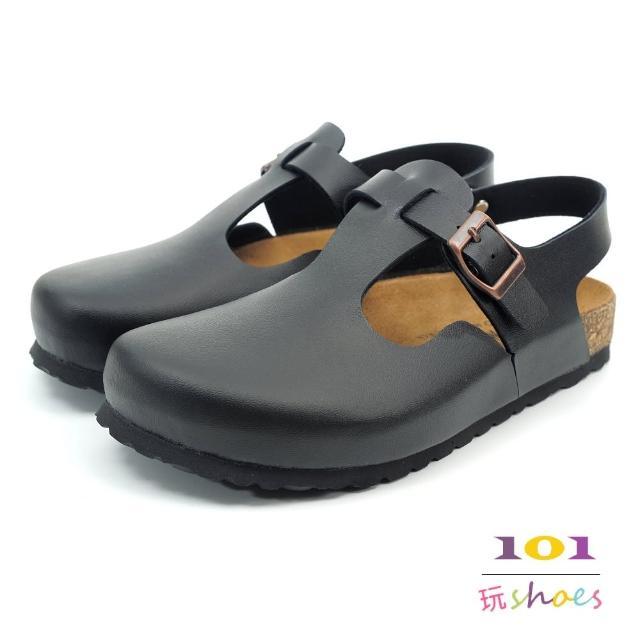 【101玩Shoes】mit. 經典素面扣環後帶伯肯鞋(黑色.36-39碼)