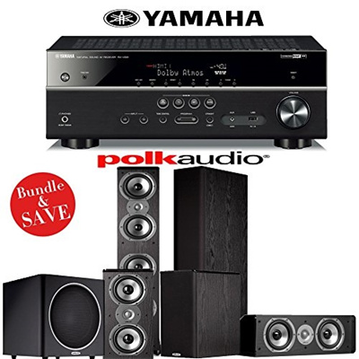 (Polk Audio) Polk Audio TSi 500 5.1 Home Theater Speaker System with Yamaha RX-V581BL 7.2-Channel...