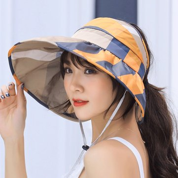 UV Protection Sun Hat Large Brim Collapsible Empty Top Hat