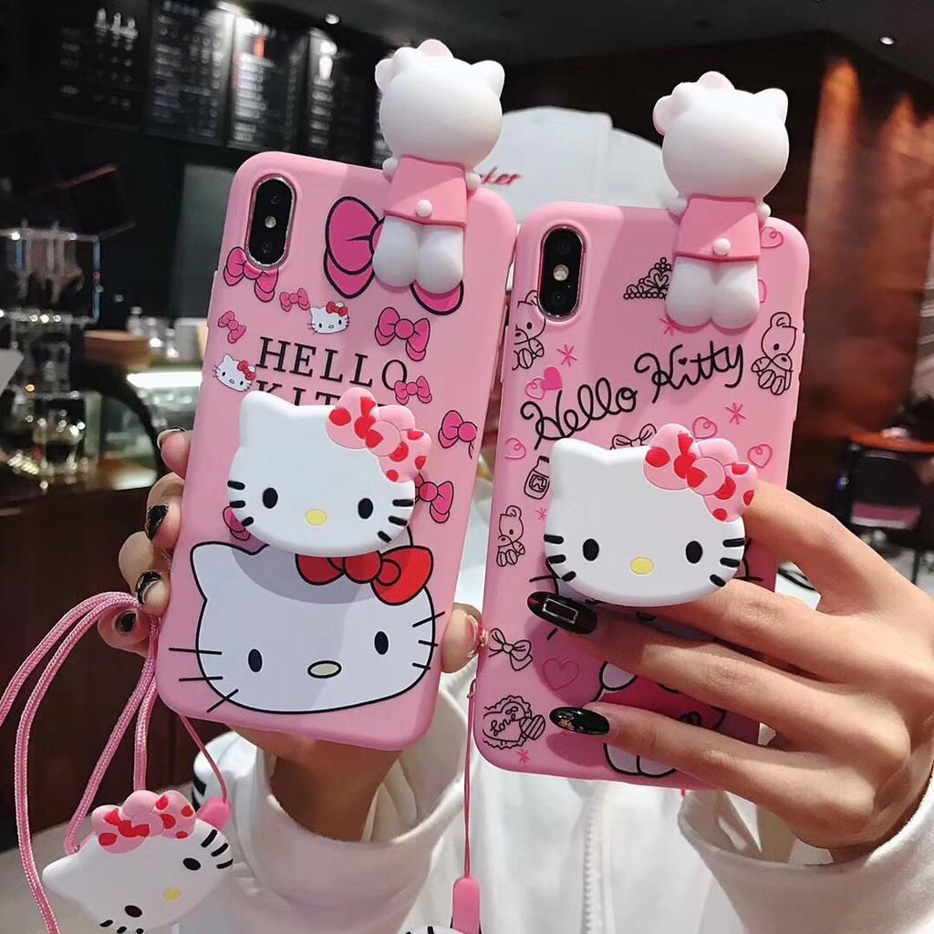 Case Vivo V5/V5S Y66 Y67 Y71 Y83 Y81 X7Hello Kitty Case Silicone Doll Stand Case
