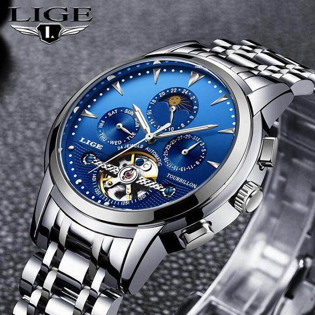 LIGE Automatic Mechanical Watch Men Business Watches Relogio 9878