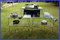 【甜蜜森活休閒館】UNRV不鏽鋼製 五合一野營架 [不鏽鋼製] 多用途戶外層架 冰桶架 桶架 雜物架 抗汙 隔熱 收納