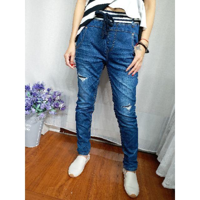 正韓 韓國進口Tony皮標刷破彈性牛仔褲 現貨特價S 小齊韓衣