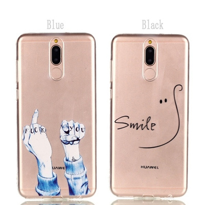 Transparent Soft TPU Phone Case Cool Middle Finger Pattern for IPhone 5678X for Huawei P20Lite Nova2