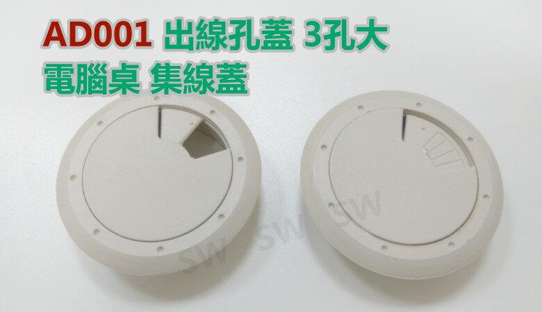 AD001灰白3孔大 77/60MM 出線孔蓋 電腦桌 集線盒 集線蓋 電線收納 集線器 塑膠圓形出線孔 線孔蓋 走線孔