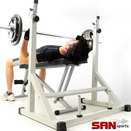 專業舉重架C080-6006深蹲架舉重架啞鈴椅舉重椅臥推架臥舉架重力舉重量訓練機仰臥起坐板 SAN SPORTS