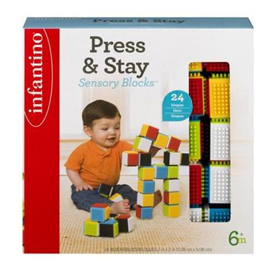 [Fastest Shipping]Infantino Press & Stay Sensory Blocks 6+m - 24 CT24.0 CT[USA]