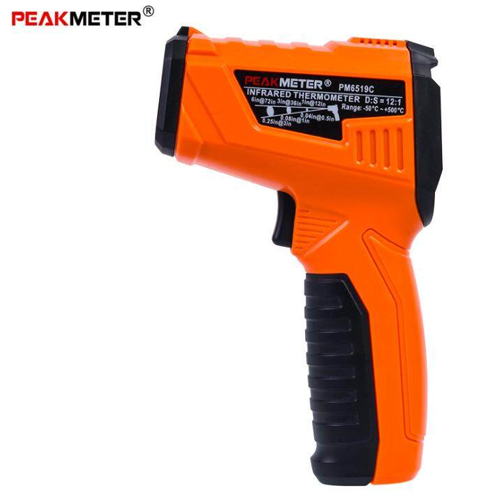 PEAKMETER -50°C~500°C Handheld Laser Infrared Thermometer D:S=12:1 With Ambient Temperature Test Meter PM6519C