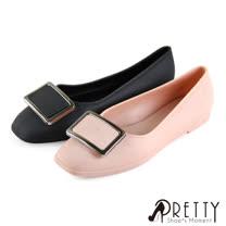 【Pretty】素色仿金屬方形釦飾平底娃娃鞋/防水鞋