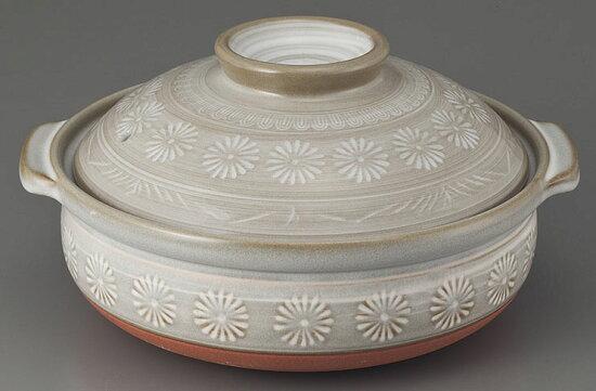 陶罐(萬古焼)花三島6號鍋[D18.6 x 20.8 x 11cm] SETOMONOHONPO