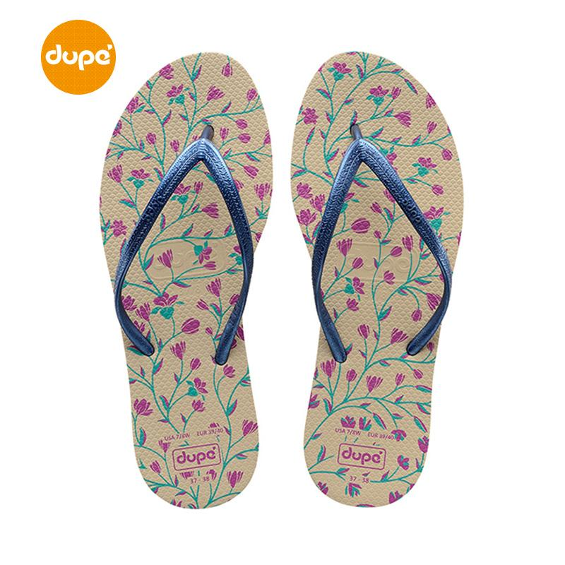 Dupe Brazil Import Natural Rubber Flip-flops Thin Drawstring Anti-slip Outer Wear Women's Slippers Printing Crafts