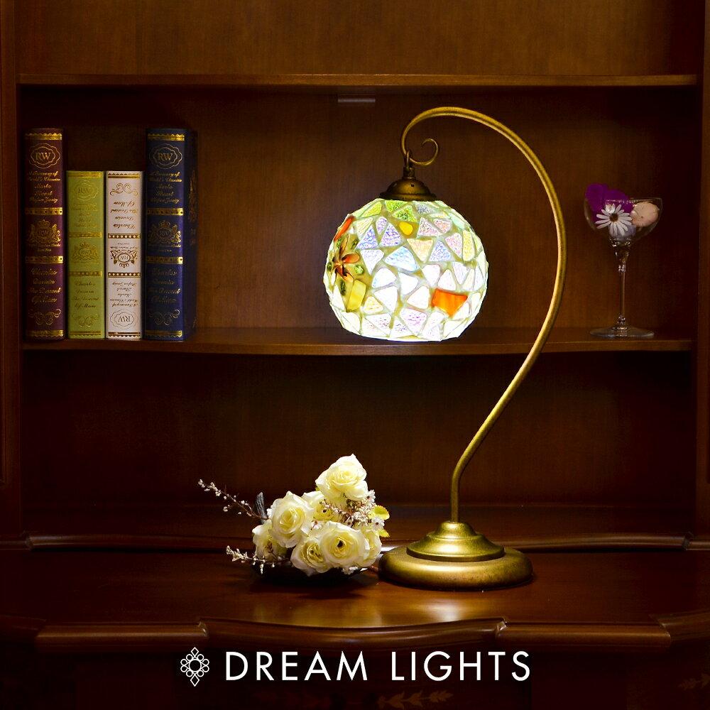 白框三角花曲線銅座桌燈|Tiffany蒂芬妮手工彩繪玻璃桌燈