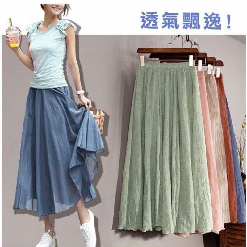 日系棉麻純色大擺長裙
