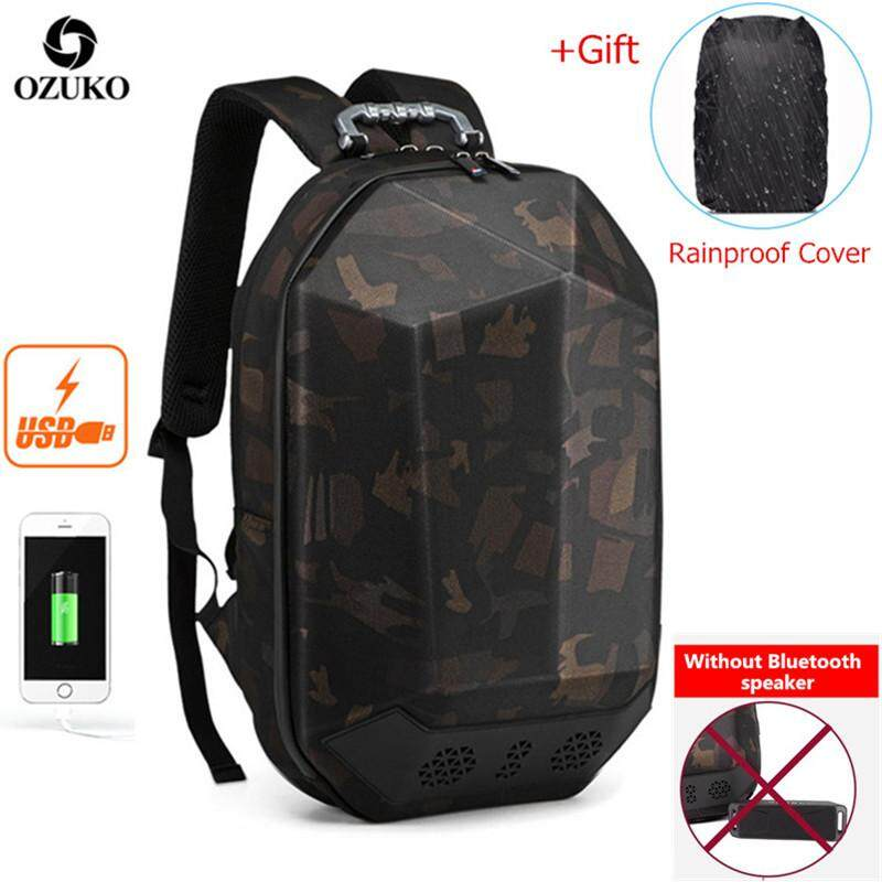 OZUKO USB Waterproof ABS 15.6-Inch Laptop Backpack Multifunctional Business Backpack Casual Travel Backpack Fashion School Bag for Men (Without Bluetooth)