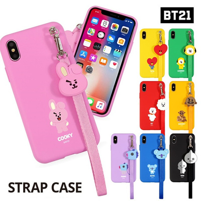 【BT21 x LINE FRIENDS】 BTS BangTan iPhone Galaxy Strap Case GIFT!