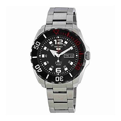 (Seiko) Seiko Men s Seiko 5 43.5mm Steel Bracelet & Case Hardlex Crystal Automatic Black Dial Wat...