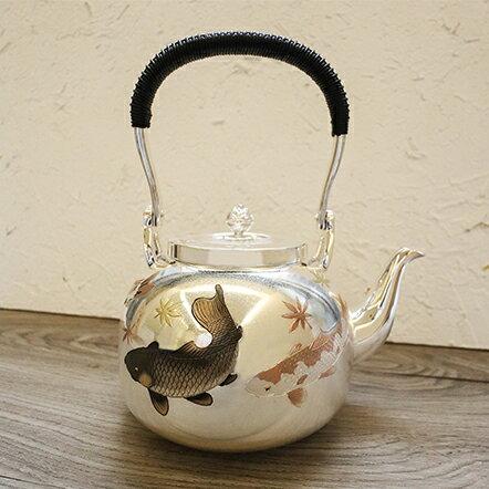 日本銀壺【大淵武則(光則)】年年有餘 1100ml 純銀湯沸 手工純銀壺 私藏作品 銀器 煮水壺~
