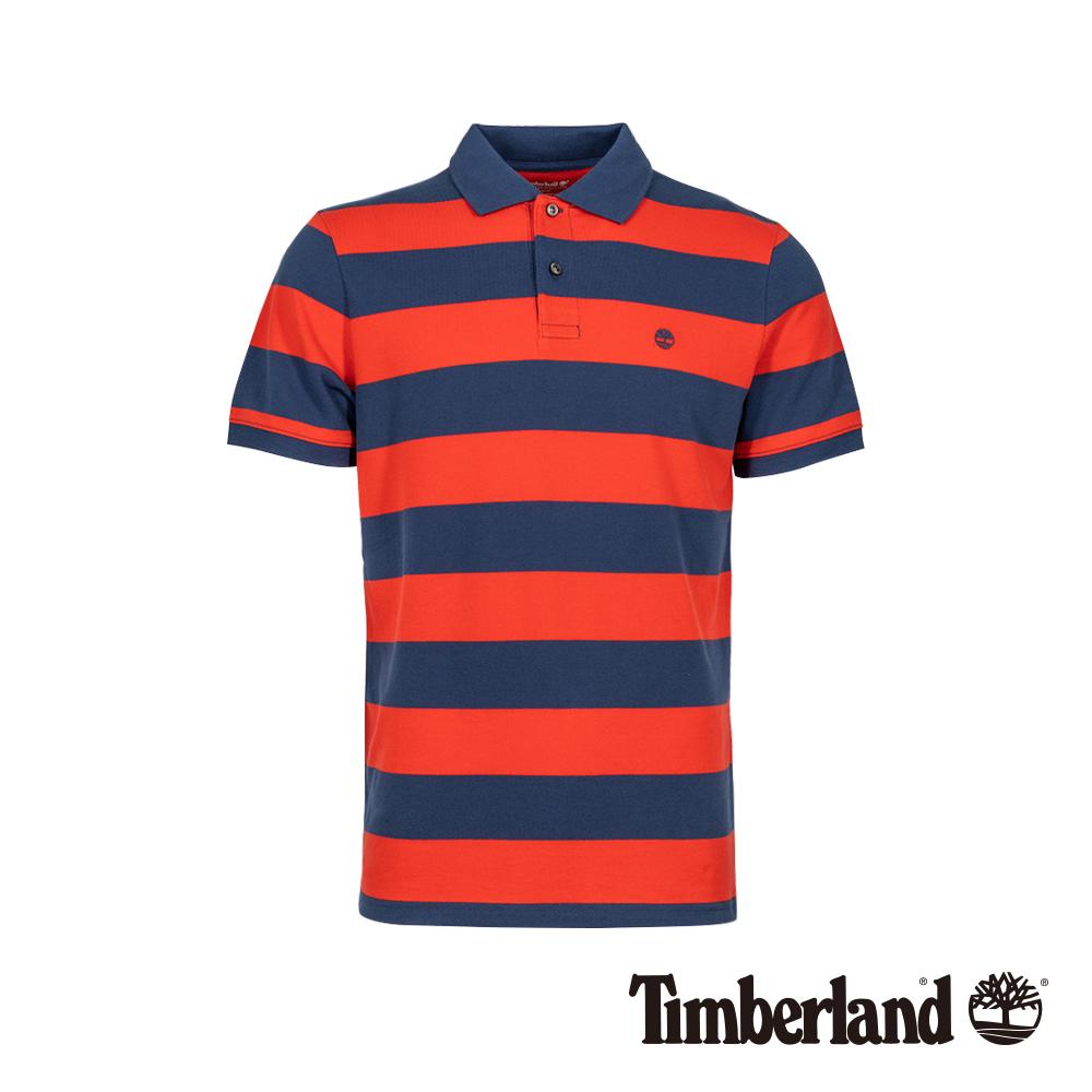 Timberland 男款紅色條紋短袖POLO衫|A1LT1