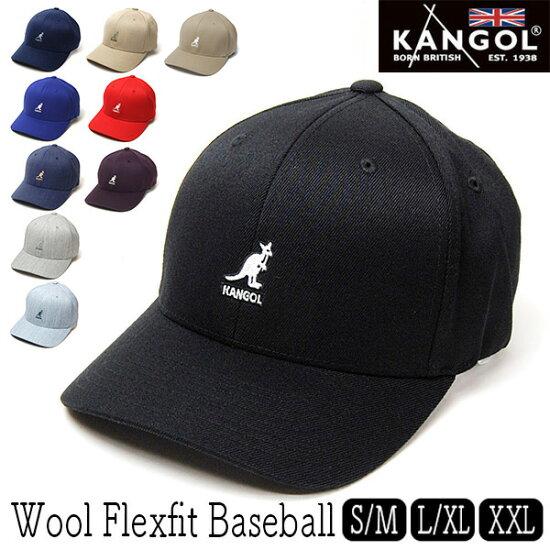 """帽子""""KANGOL(罐子球門)""""伸展斜紋布棒球蓋子[Wool Flexfit Baseball][大的尺寸的帽子螞蟻] Kawabuchi Hats Ltd."""