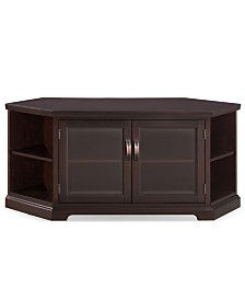 """Leick Home Chocolate Cherry & Bronze Glass 56"""" Corner TV Console with Bookcase/Display"""