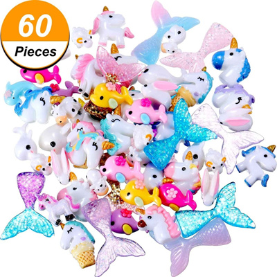 online 30/60 Pieces Slime Charms with Mermaid Tail Unicorn Dolphin Resin Flatback of Slime Beads for
