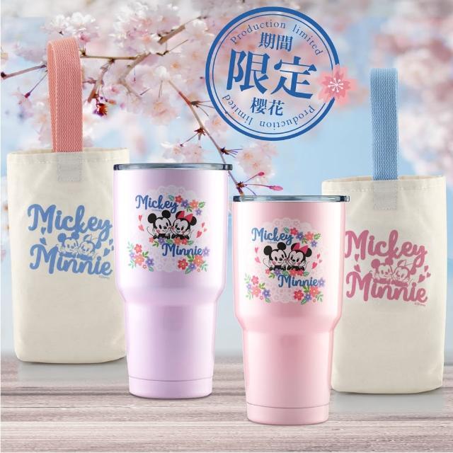 【Disney 迪士尼_超值4件組】櫻紛米奇#304不銹鋼陶瓷內膽真空保溫冰霸杯900ml(共2冰霸杯+2提袋)