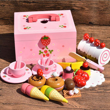 Wooden Kitchen Pretend Play Toy Doll House Accessories Sweet Princes Ice Cream Cooking Puzzle