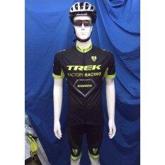 ชุดปั่นจักรยานแขนสั้น Trek สีดำเขียว เป้าเจล