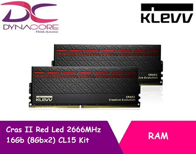 Klevv Cras II Red Led 2666MHz 16Gb (8Gbx2) CL15 Kit