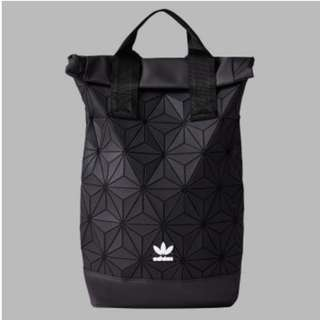 LATEST NEW SEP'17 LAUNCH: Adidas 3D Mesh Roll Top Backpack / Issey Miyake Style Bag (Black / White)